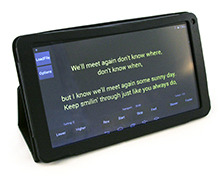 Tablet showing song app.